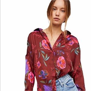 Free people Silky Nights Button Down Top NWT